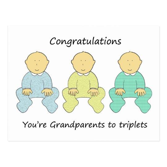 congratulations you re grandparents to triplets postcard zazzle com