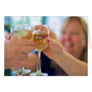 Congratulatory card with photo of women toasting