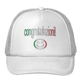 ¡Congratulazioni! Colores de la bandera de Italia Gorro De Camionero