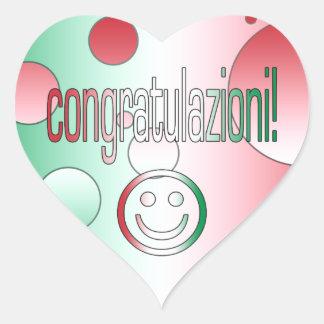Congratulazioni! Italy Flag Colors Pop Art Heart Sticker