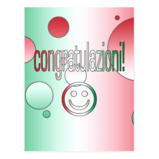 ¡Congratulazioni! La bandera de Italia colorea Postales