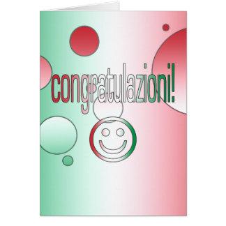 ¡Congratulazioni! La bandera de Italia colorea Tarjeta De Felicitación