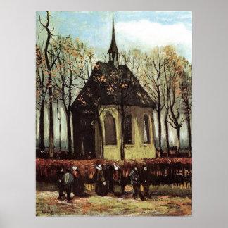 Congregación que sale de la iglesia reformada en póster