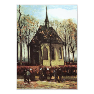 Congregation exiting Church in Nuenen - van Gogh Card