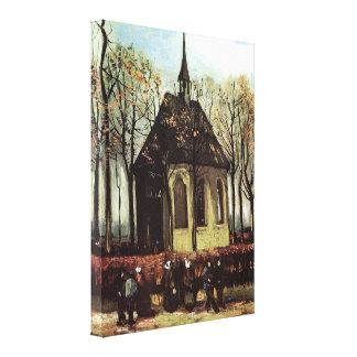 Congregation Leaving the Reformed Church in Nuenen Canvas Print