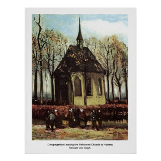 Congregation Leaving the Reformed Church in Nuenen Poster