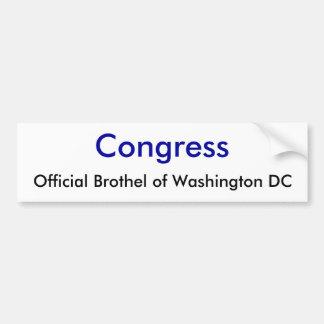 Congreso, burdel oficial del Washington DC Pegatina Para Auto
