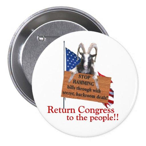 ¡Congreso de vuelta a la gente! Pin Redondo De 3 Pulgadas