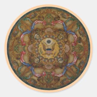 Congreso patriótico de la biblioteca de la pintura pegatina redonda