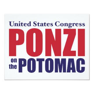 """Congreso: Ponzi en el Potomac Invitación 4.25"""" X 5.5"""""""