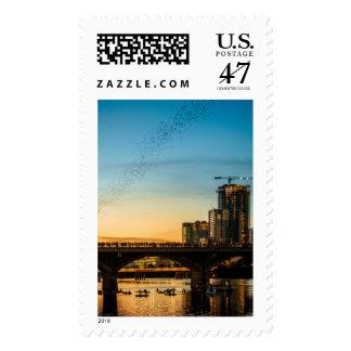 Congress Avenue Bridge Bat Watching Postage Stamp