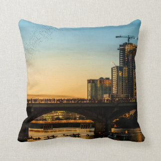 Congress Avenue Bridge Bat Watching Throw Pillow