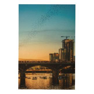 Congress Avenue Bridge Bat Watching Wood Wall Art