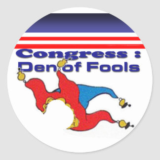Congress den of fools classic round sticker