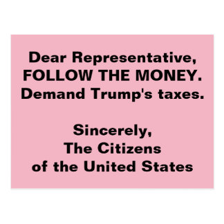 Congress Follow the Trump Money Russia Resistance Postcard