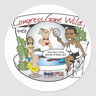 congress gone wild classic round sticker