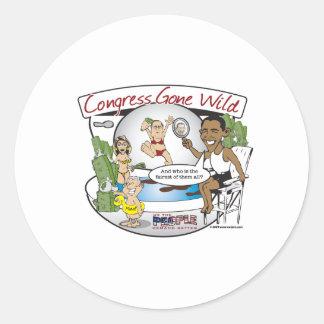 congress gone wild classic round sticker