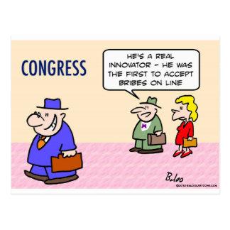 congress innovator accepts bribes on line postcard