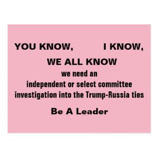 Congress Investigate Trump Russia Ties Resistance Postcard