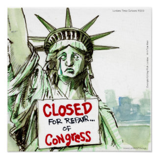 Congress LadyLiberty Closed 4 Repairs Funny Poste Poster