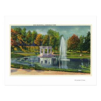 Congress Park War Memorial View Postcard