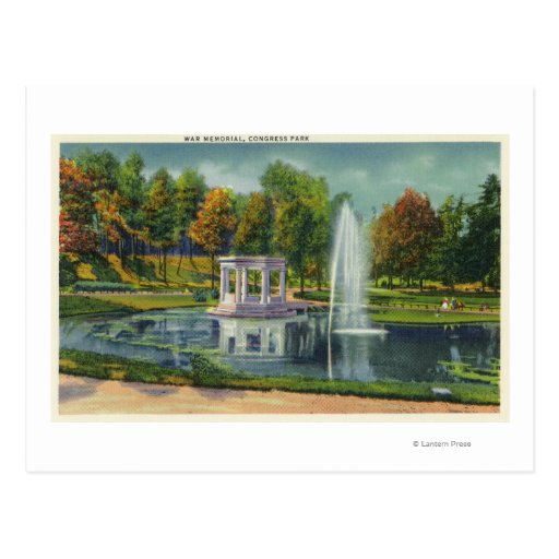 Congress Park War Memorial View Post Card