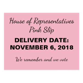 Congress Pink Slip for Trump Resistance Postcard