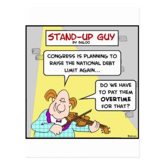 congress raise national debt limit pay overtime postcard