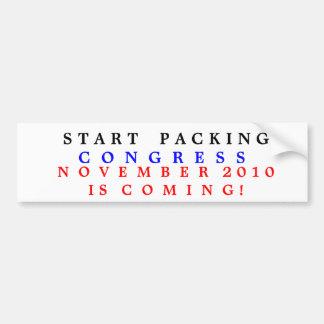 Congress  Start Packing. Car Bumper Sticker