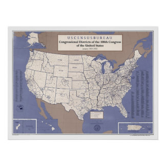 Congressional Districts Of USA  Map Poster