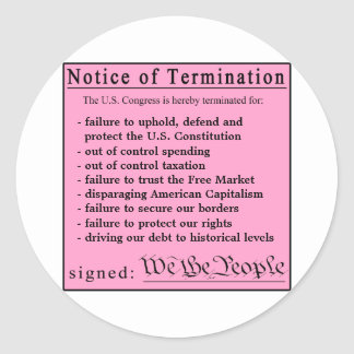 Congressional Pink Slip stickers