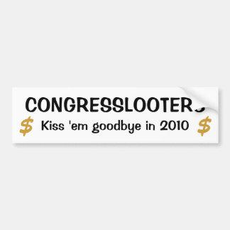 Congresslooters - béselos adiós en 2010 pegatina de parachoque