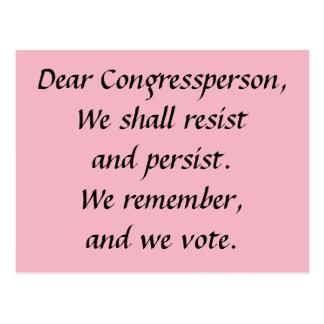 Congressperson Persist Resist Remember Vote Postcard