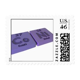 Coni as Co Cobalt and Ni Nickle Postage Stamp