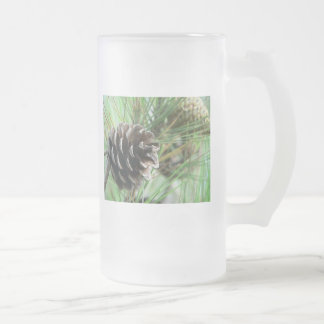 Conifer Cone Frosted Glass Beer Mug