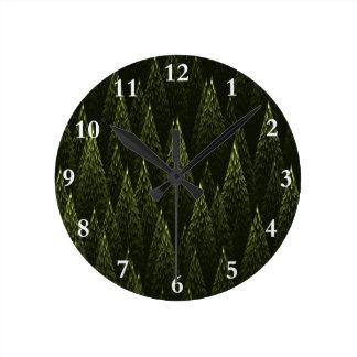 Conifers Round Clock
