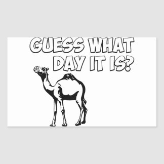 ¿Conjetura qué día es? Camello del día de chepa Pegatina Rectangular