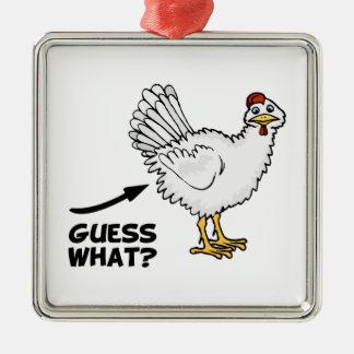 Conjetura qué extremo del pollo adorno cuadrado plateado
