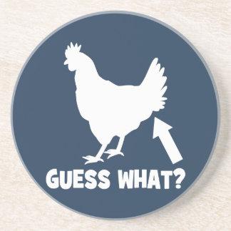 ¿Conjetura qué? Extremo del pollo Posavasos Personalizados