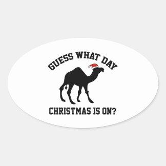 ¿Conjetura qué navidad del día está prendido? ¡Oh Pegatina Ovalada
