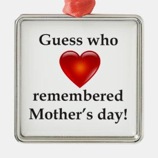 Conjetura que recordaba día de madres adorno navideño cuadrado de metal