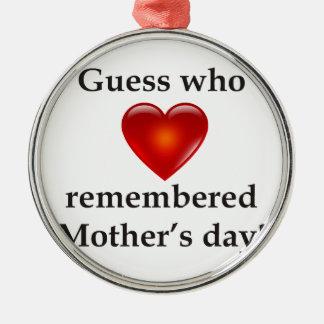 Conjetura que recordaba día de madres adorno navideño redondo de metal