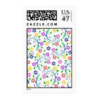 Conjunto floral brillante, colorido de la tarjeta sello postal