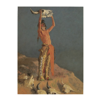 Conjuring Back the Buffalo by Frederic Remington Wood Print