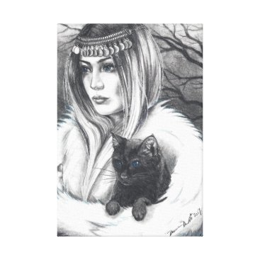 Halloween Themed Conjuring Companions Witch Art Cat Art Canvas Print