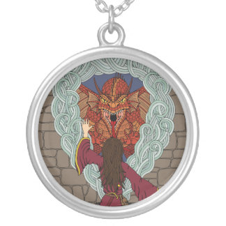 Conjuring the Dragon Silver Plated Necklace