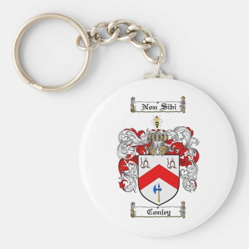 CONLEY FAMILY CREST -  CONLEY COAT OF ARMS BASIC ROUND BUTTON KEYCHAIN