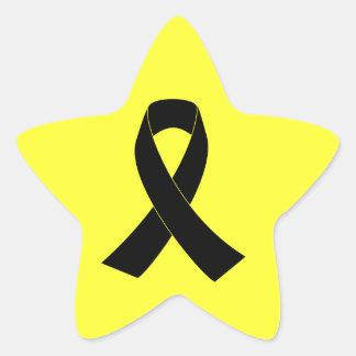 Conmemoración, cinta negra de luto de la pegatina en forma de estrella