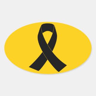 Conmemoración, cinta negra de luto de la pegatina ovalada
