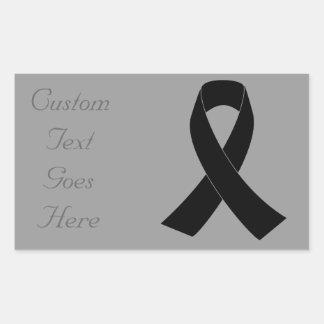 Conmemoración, cinta negra de luto de la pegatina rectangular